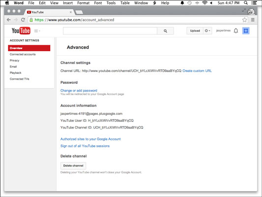 how to change a youtube channel url