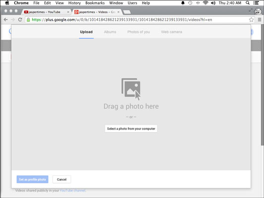 The Google+ dialog box for adding an icon to your channel.