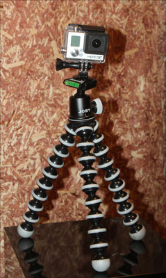 Neither tripods nor cameras need to be big now, as proven with this GoPro mounted on a Gorillapod.