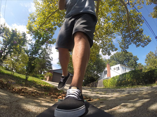 You can easily attach a GoPro to a skateboard to get a board's‐eye view of the scene.
