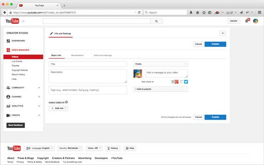 Entering metadata through Video Manager.