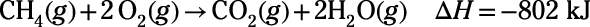 A reaction equation that describes the combustion of methane