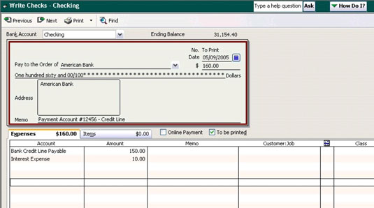 Recording a loan payment in QuickBooks.