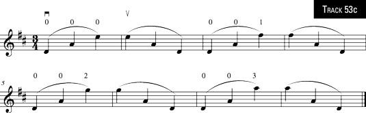 Three-note slurs across strings.
