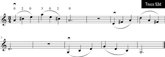 Three arpeggios with three-note slurs (A major, D major, and G major arpeggios).