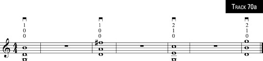 Four three-note chords.
