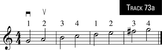 G major scale in third position.