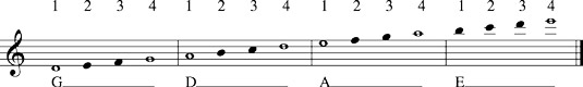 Notes you play in fourth position.