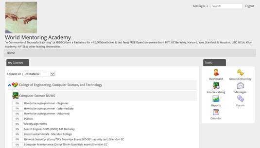 Dashboard for a World Mentoring Academy computer science major.