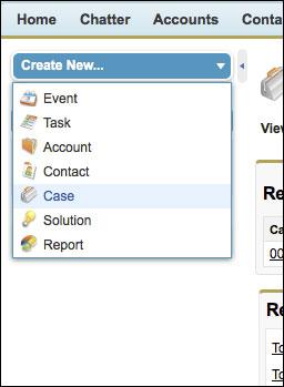 The Create New drop-down menu in the sidebar.