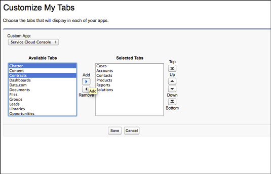 Customizing your tabs.