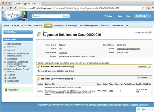 The Suggested Solutions page.