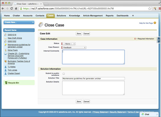 Create a new solution when closing a case.