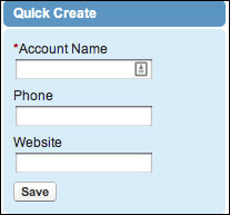 The Quick Create section on a tab Home page.