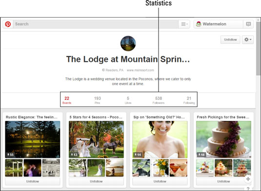 Basic statistics on pins and followers are visible to everyone who visits your Pinterest site.  [Cr