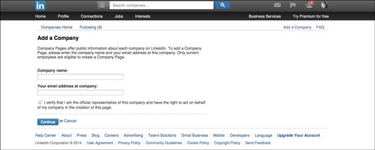 Use your company information to set up your LinkedIn Company Page profile.