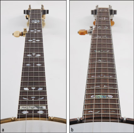 Comparing fingerboards: (a) flat and (b) radiused. [Credit: Photographs by Anne Hamersky]