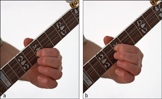 (a) Getting ready to play a second‐string, tenth‐fret choke; (b) bending the string to