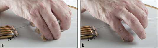 Anchoring the picking hand with (a) the ring finger and pinky finger gives more stability than usin