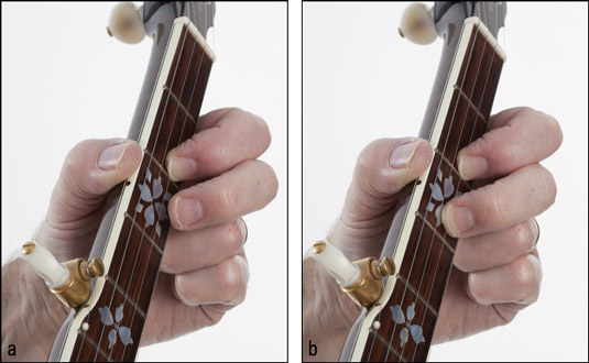 The position of (a) the fretting‐hand fingers before playing fretted hammer‐on and (b)