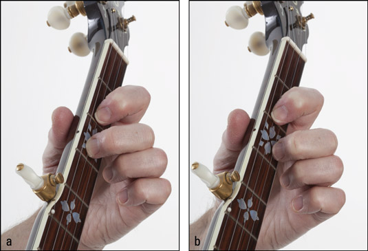 Playing a third‐string pull‐off: (a) positioning the fretting‐hand fingers and (b