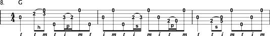 Long banjo lick combining three separate licks.