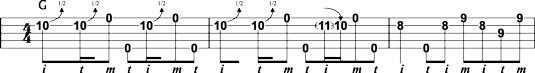 Up‐the‐neck G lick using bends.