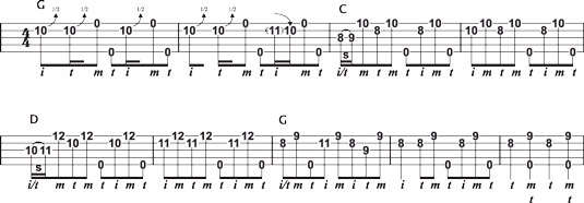 Creating an up‐the‐neck solo from G, C, and D licks.