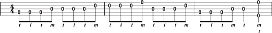 Using the alternating thumb roll to shift to a higher string in single‐string playing.