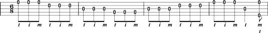 Using the forward roll in 6/8 time in single‐string banjo.