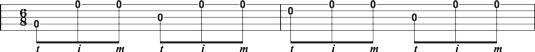 Using forward rolls to shift string in 6/8 time in single‐string banjo.