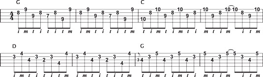 """Using basic D‐shape and """"In the Mood"""" licks together."""