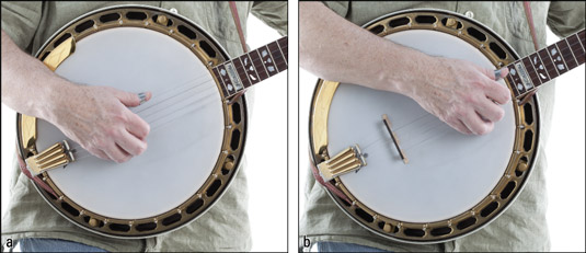 Positioning the picking hand (a) close to the bridge for lead playing and (b) close to the neck for