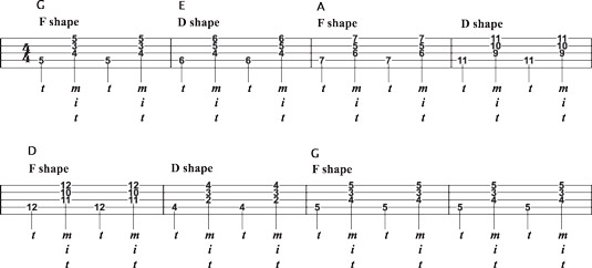 "Vamping to ""Salty Dog Blues"" using F‐ and D‐shape transitions."