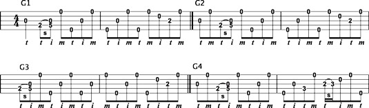 Adding slides to two‐measure forward‐roll backup licks in G.