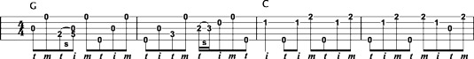 J. D. Crowe's backup licks using forward rolls for G and C chords.