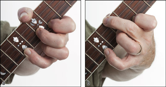 Fretting upper melodic‐style positions with (a) the thumb and (b) the middle finger. [Credit:
