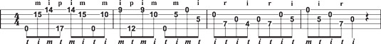 Melodic lick using up‐the‐neck positions.