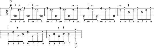 A cascading melodic lick in G.