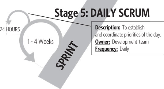 The daily scrum is an integral aspect of the sprint and Stage 5 in the roadmap to value.