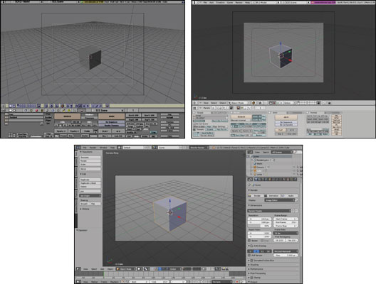 Blender through the years: Blender 1.8 (top left), Blender 2.46 (top right), and the major changes