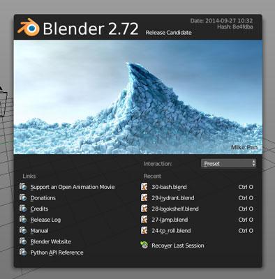 The Blender splash image.