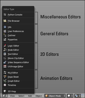 The Editor Type menu.