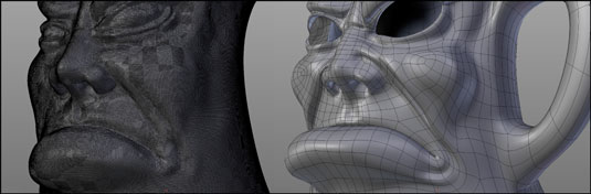 On the left, a model sculpted with dyntopo; on the right is the same model after being retopologize