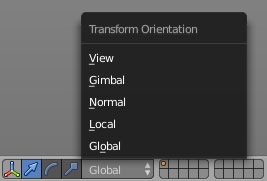 The Transform Orientation menu.