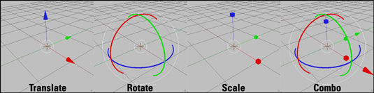 The Translate, Rotate, Scale, and Combo manipulator modes.