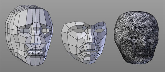 From left to right, box modeling, point-for-point modeling, and sculpting a simple human head.