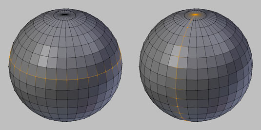 A closed edge loop (left) around a sphere and a terminating edge loop (right) on a sphere.