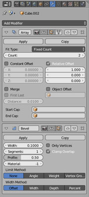 The Array and Bevel modifiers in Modifier Properties.