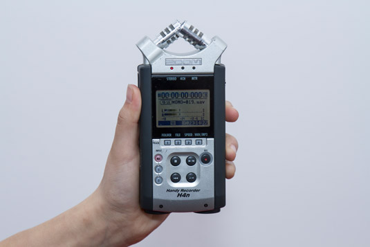 The Zoom H4N portable sound recorder.